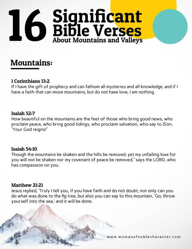Bible verses about mountains and valleys in the Bible