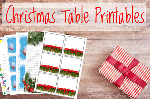 Christmas Table Printables place cards lights