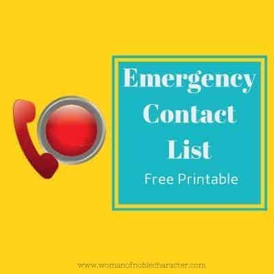 Emergency Contact List printable