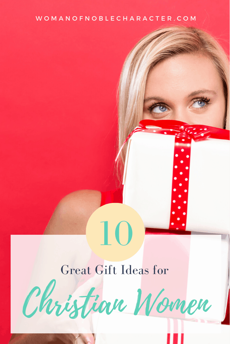 Gifts for Christian Women - A blonde woman holding a pile of gifts against a red background
