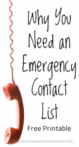 Emergency Contact List, free printable