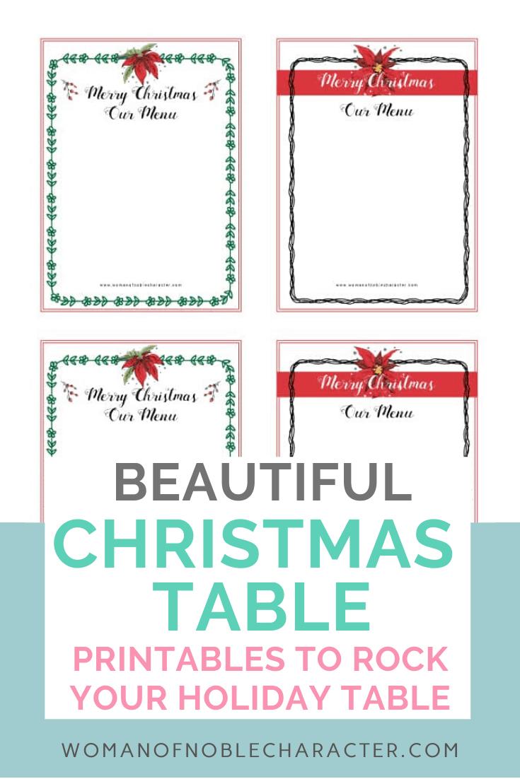 Christmas Table Printables- Holiday Menus