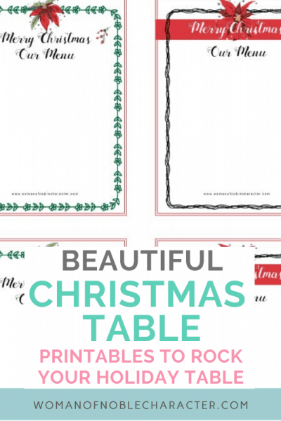 Christmas Table Printables- Holiday Menus