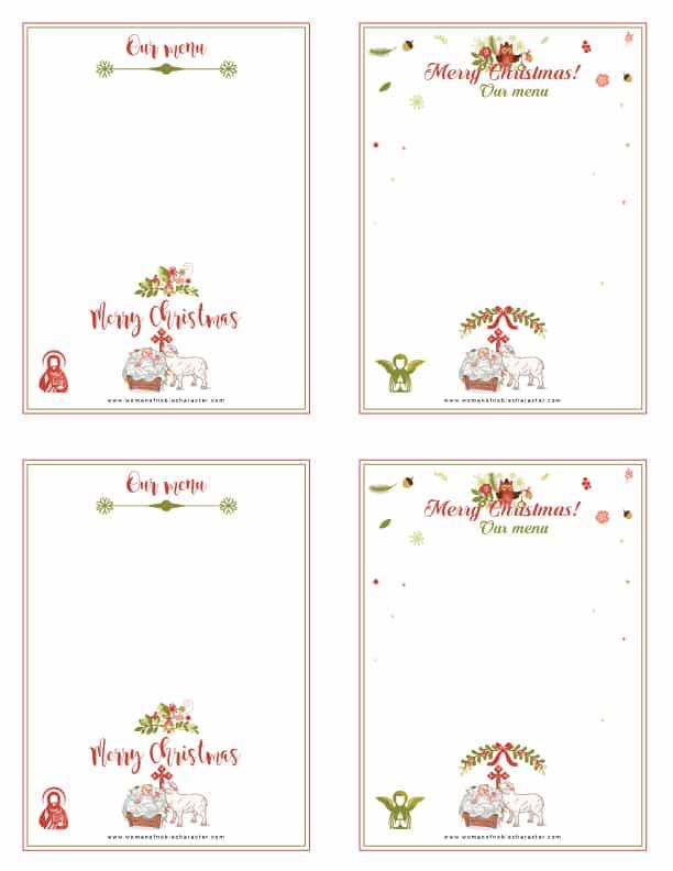 printable Christmas menus