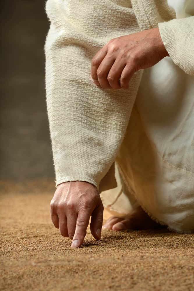 Relationship, not religion Jesus Finger Writing in the Sand