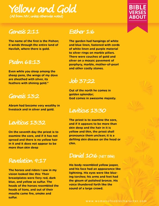 Bible verses about yellow and gold