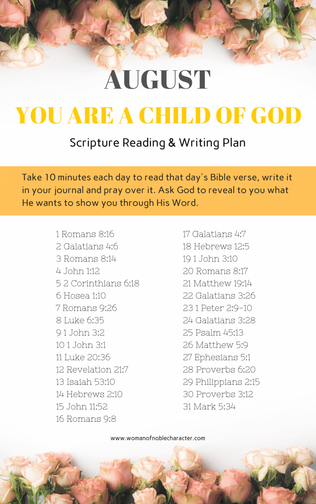 August Bible reading/writing plans You are a child of God