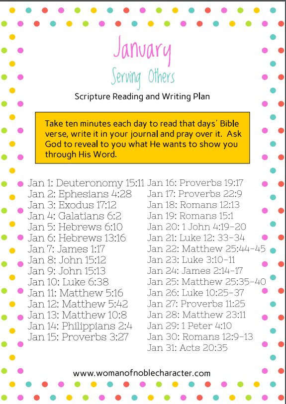 January Bible reading writing plans