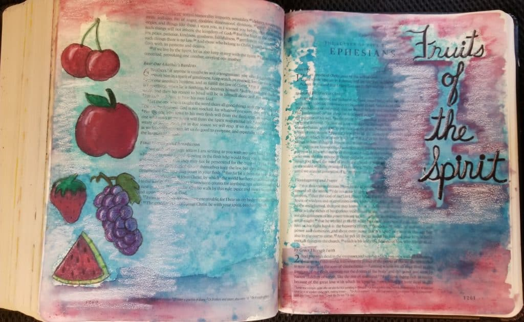 Fruits of the Spirit Bible journaling Galatians 5:22-23