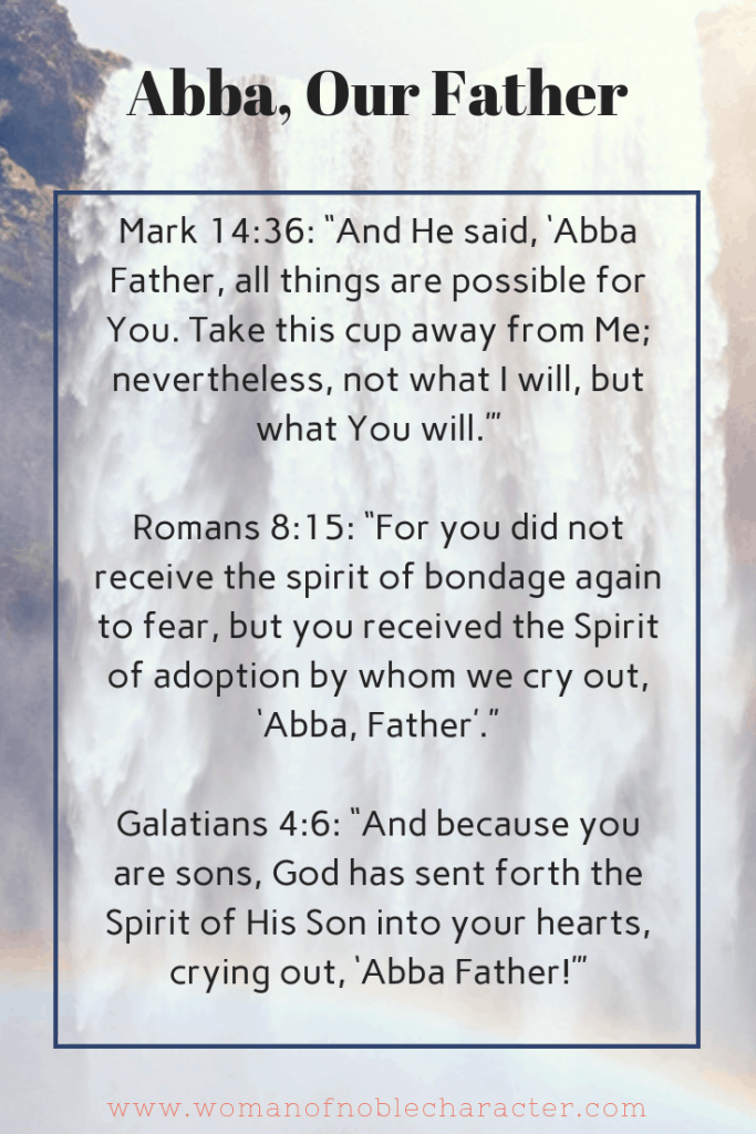 Abba, our Father. Names of God