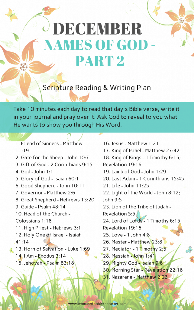 DECEMBER Names of God part 2 Scripture Reading & Writing Plan