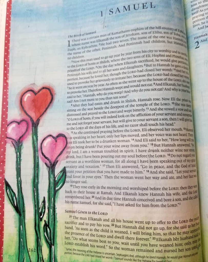 heart flowers for Bible journaling