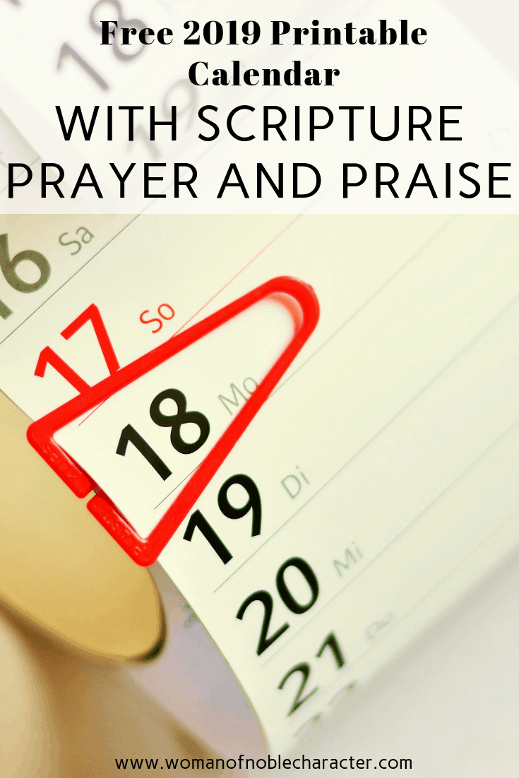 Free 2019 Printable Calendar With Scripture Prayer And Praise 1