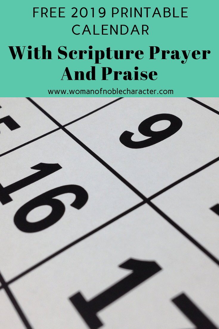 photograph regarding Printable Monthly Prayer Calendar named No cost 2019 Printable Prayer Praise Calendar 2019 printable