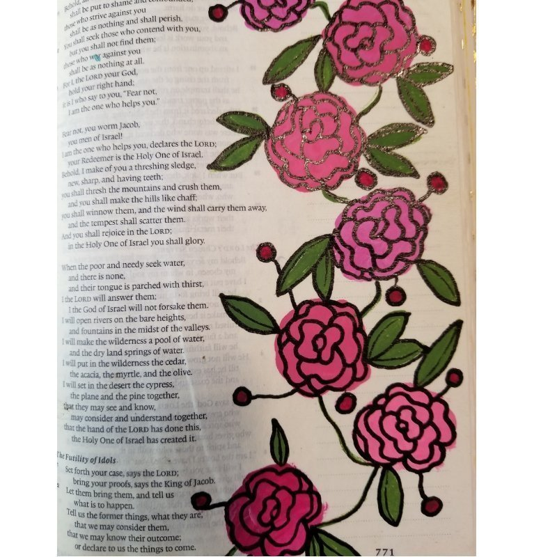 carnations- flowers for Bible journaling on a Bible page