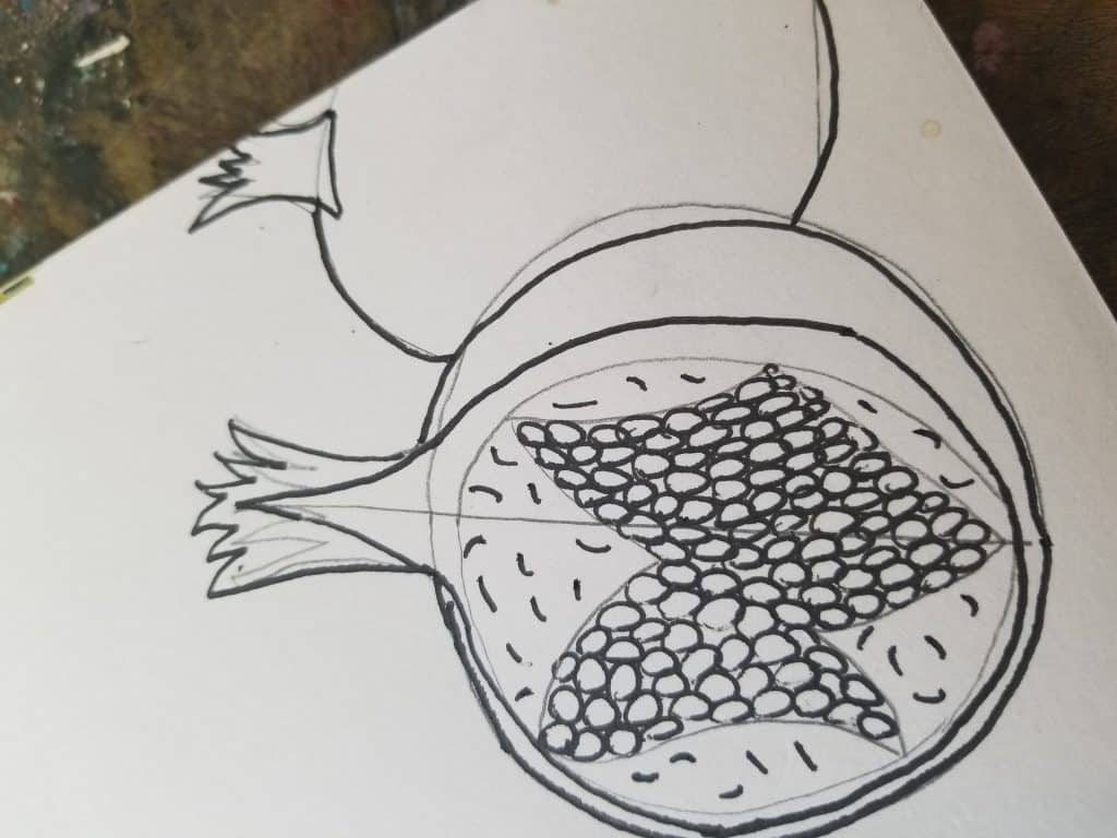how to draw pomegranates in Bible journaling