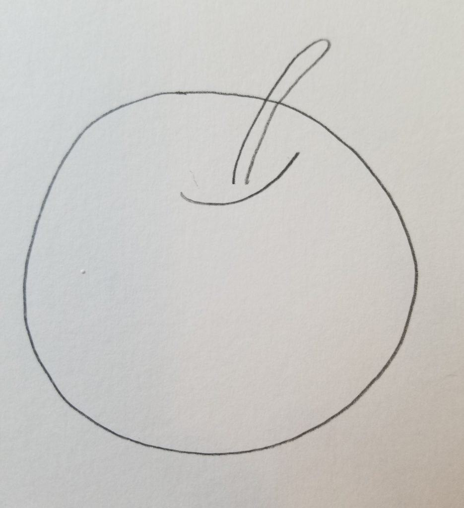 how to draw fruit in Bible journaling apple 2