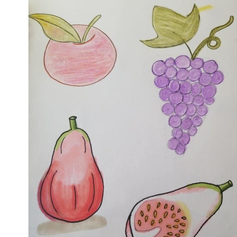 how to draw fruit in your Bible journaling
