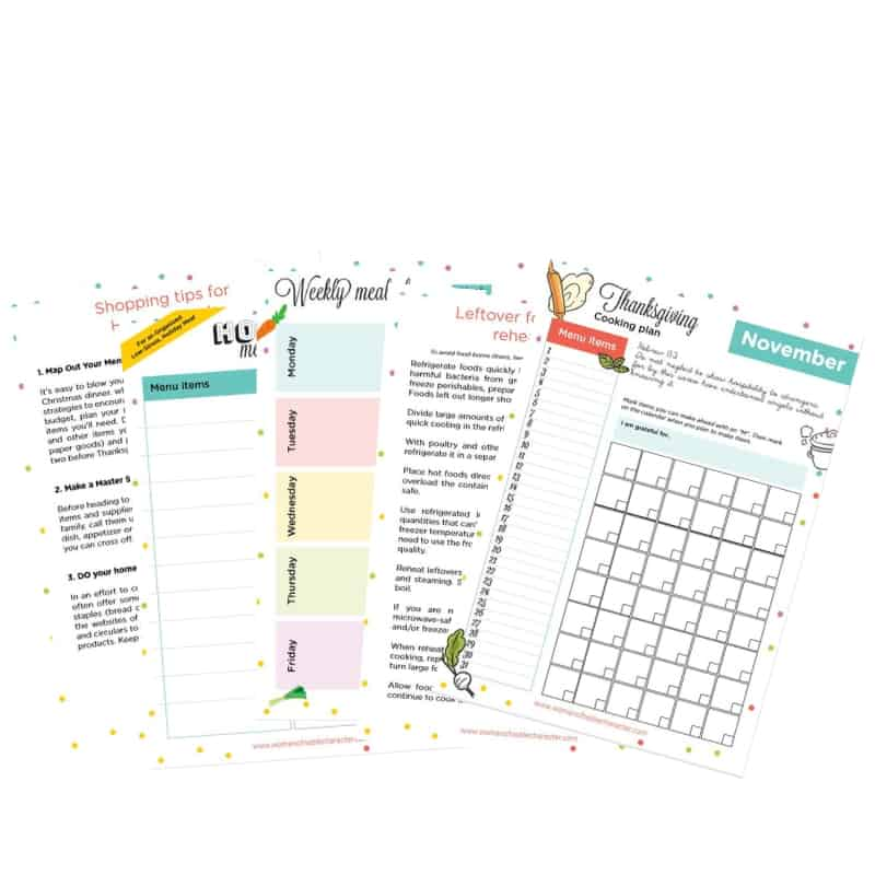 meal planning and food storage printable pack