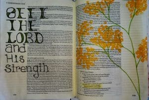 Bible journaling with household objects yellow wildflowers painted with Q-tips