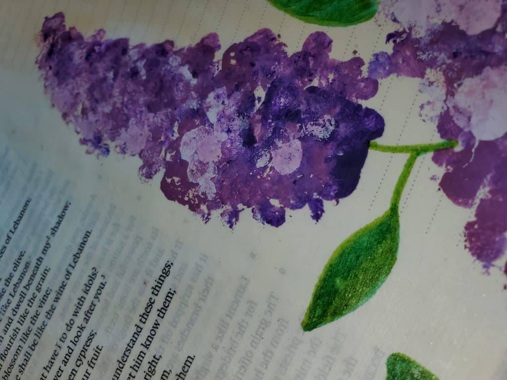 painting lilacs with q-tips Bible journaling with household items