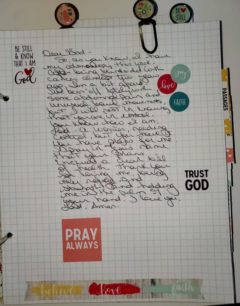 prayer in DIY prayer journal or war binder