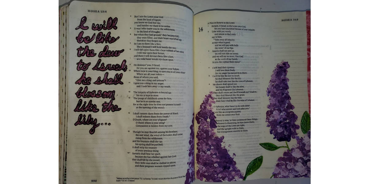 Bible journaling Hosea painting lilacs