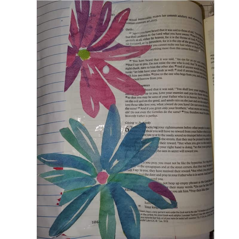 Bible journaling with household objects napkin decoupage