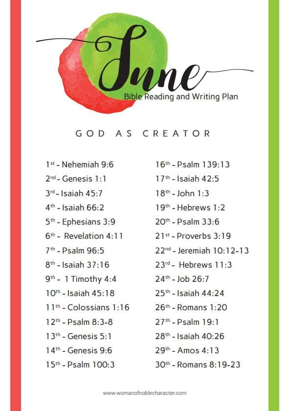 June 2019 Bible reading writing plan