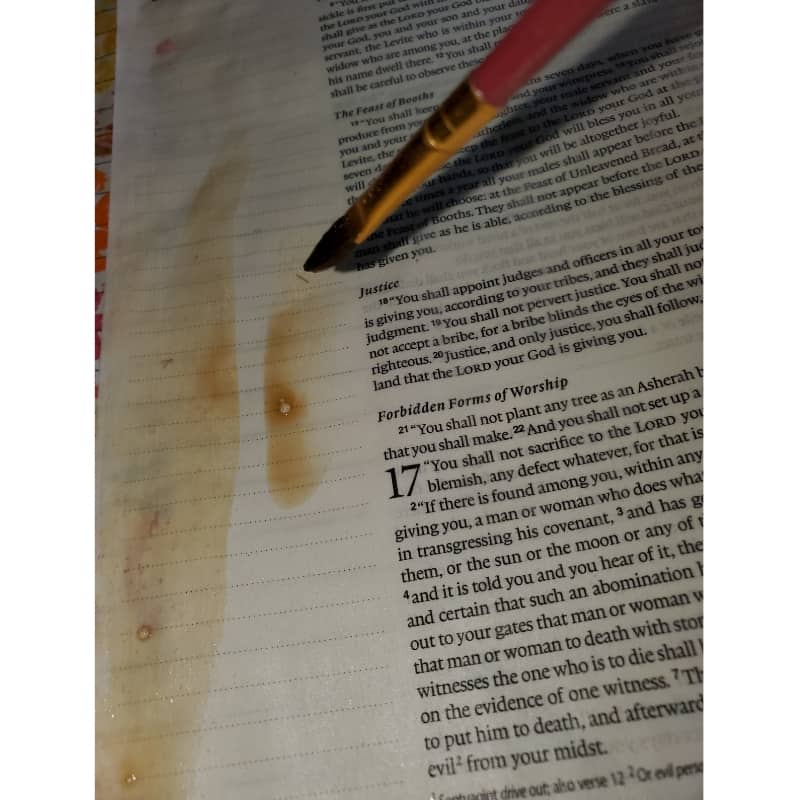 painting with tea Bible journaling with household objects