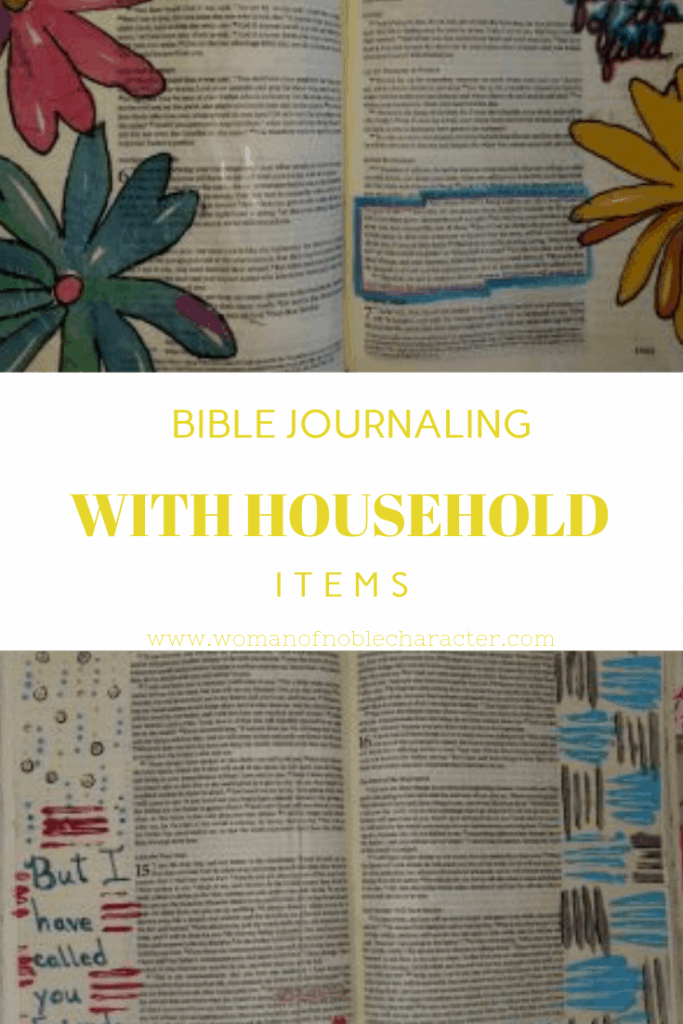 Bible journaling with household items