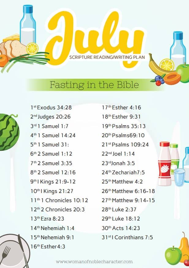 July 2019 scripture reading plan fasting in the Bible