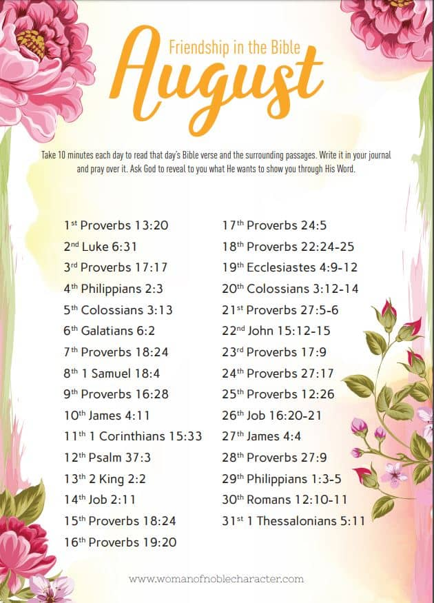 August 2019 Bible Reading and writing plan about Friendship