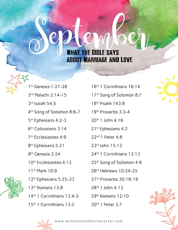 September-Bible-Reading-Writing-Plan Love and marriage