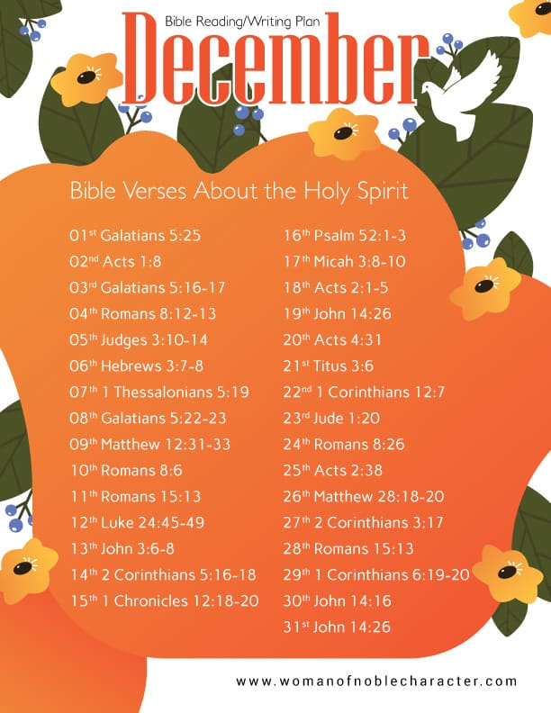 December Bible verses about the Holy Spirit