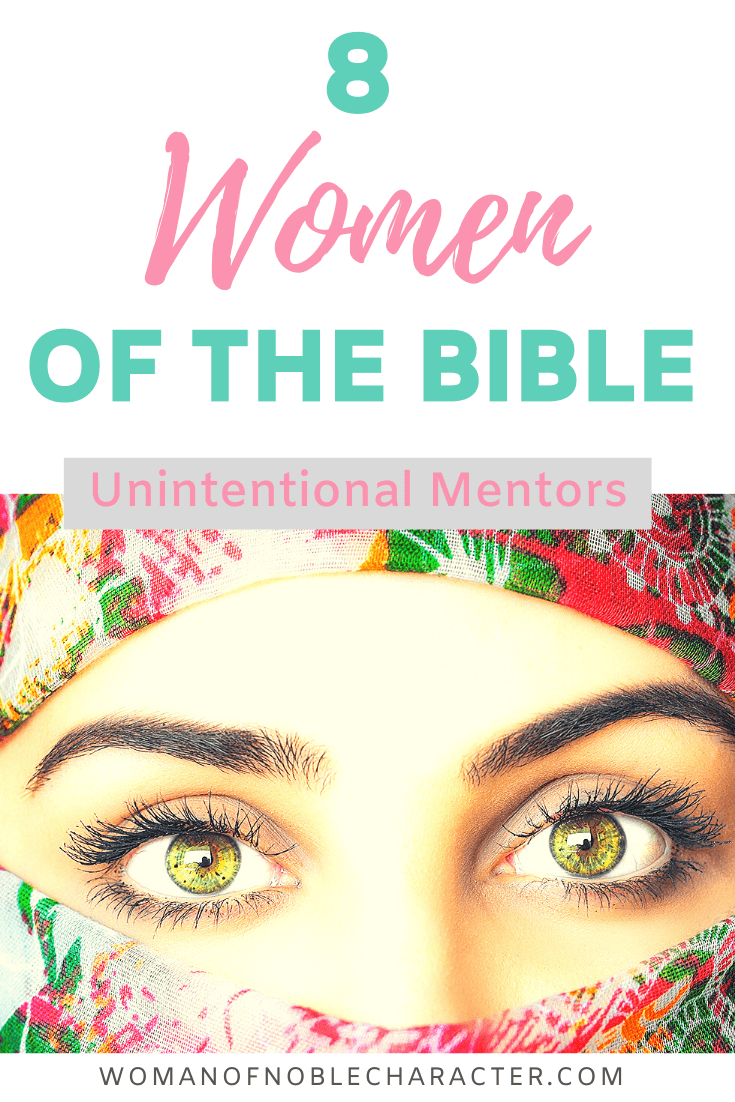 8 Women of the Bible - A woman in a colorful veil with only her eyes exposed