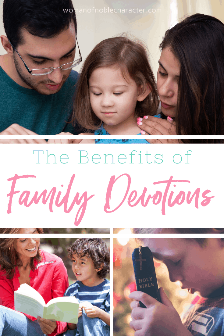 Family Devotions- 3 Benefits of Family Devotions- - A collage of parents reading with their children