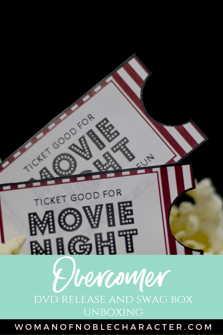 Overcomer DVD Release and Swag Box Unboxing - An image of two movie tickets on top of popcorn