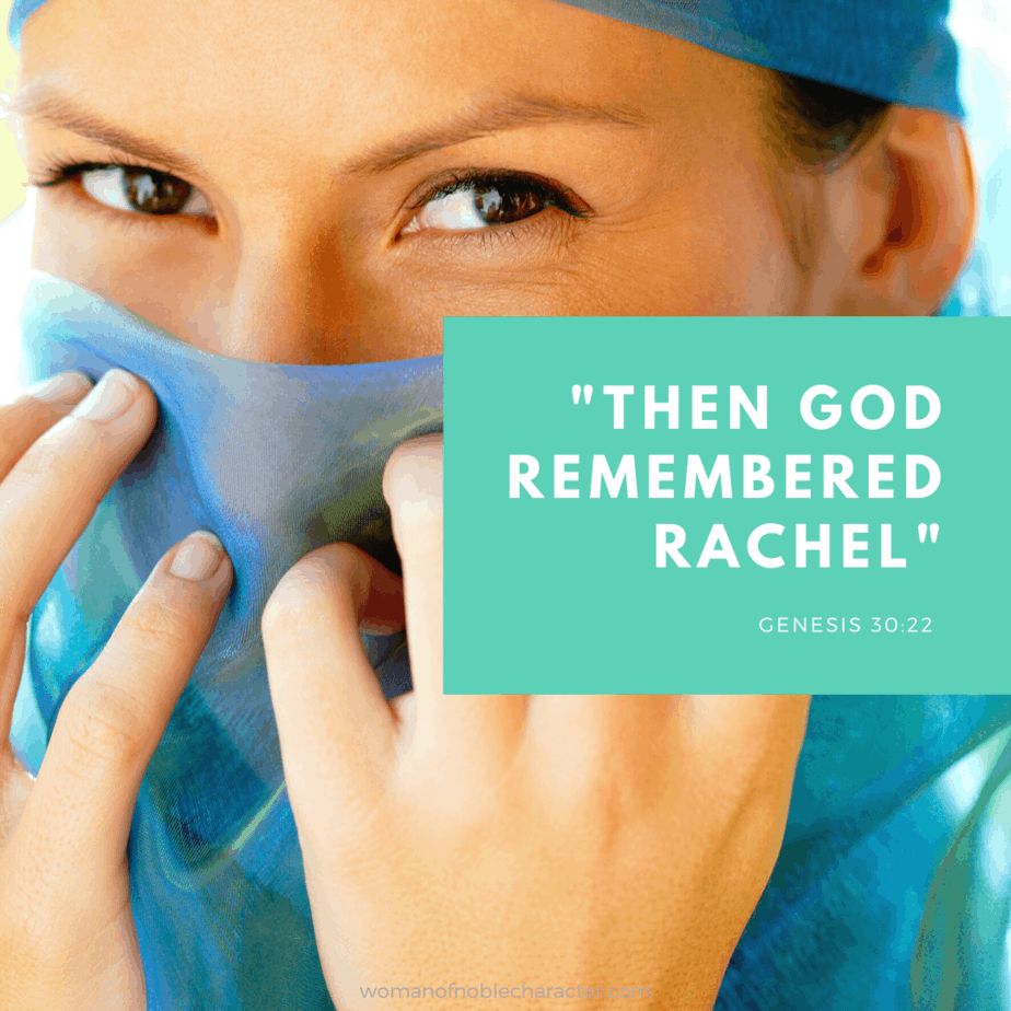 "Rachel in the Bible - A beautiful woman behind a blue veil with ""Then God Remembered Rachel"" written in text"
