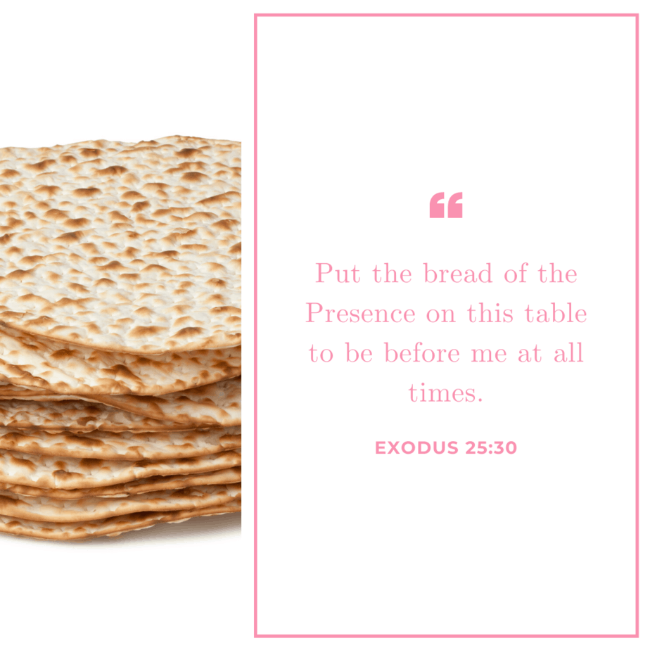An image of a stack of matzo and Exodus 25:30 quoted