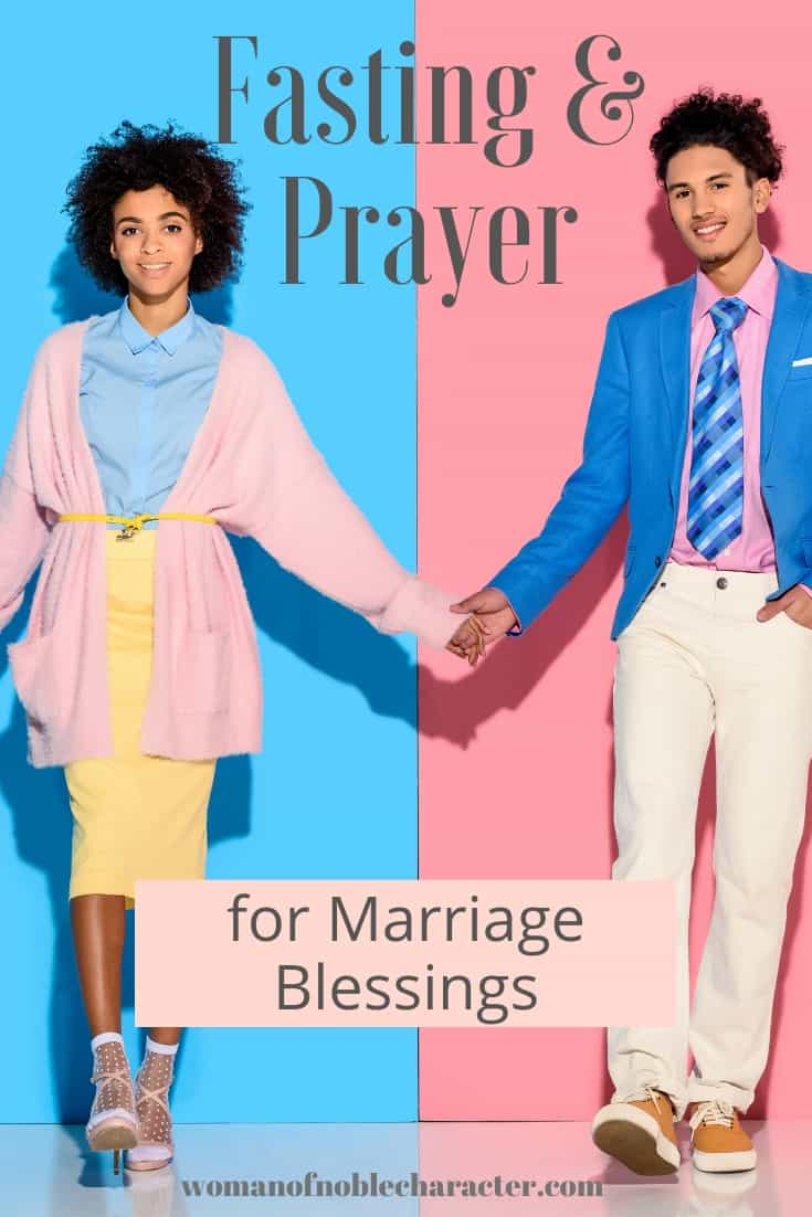 A couple holding hands across a split background of pink and blue and a text overlay that says Fasting and Prayer for Marriage Blessings