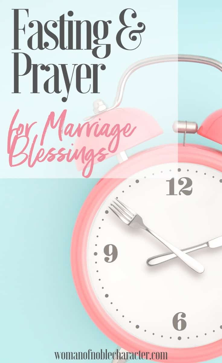 An image of pink alarm clock with a fork and knife as the hands against a light blue background and a text overlay that reads Fasting and Prayer for Marriage Blessings
